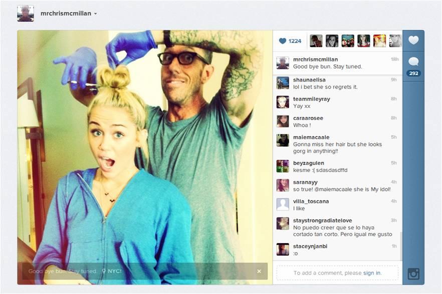 Miley Cyrus avant de se faire couper les cheveux