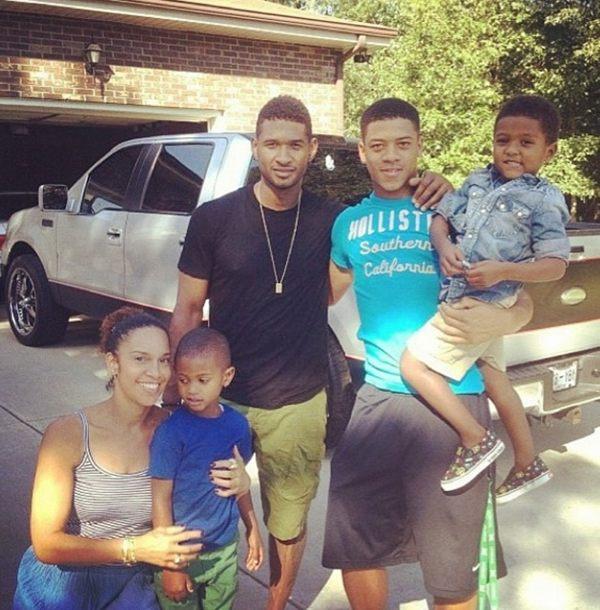 usher en famille avec sa copine Grace Miguel et leurs enfants respectifs