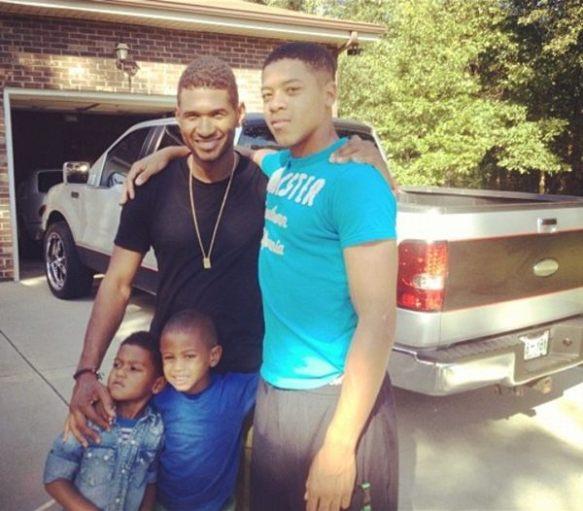 usher & ses enfants : ses 2 fils Navyid et Usher V