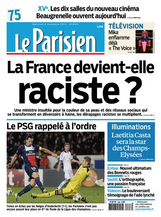Couverture Le Parisien_France raciste